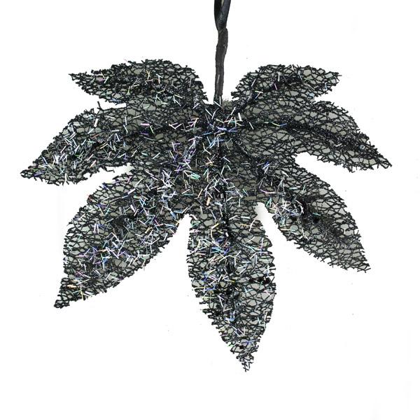 Black Mesh Hanging Glitter Leaf - 19cm