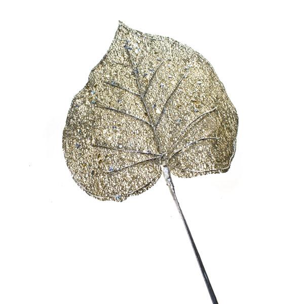 Platinum Pazzaz Leaf Spray - 60cm Glitter
