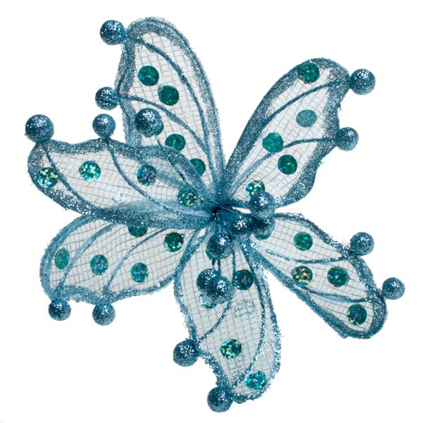 Blue Sheer Flower Clip - 20cm