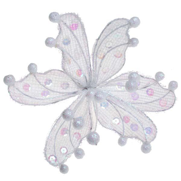 Ivory Sheer Flower Clip - 20cm