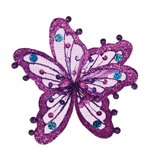 Fuchsia, Purple & Blue Sheer Flower Clip - 20cm