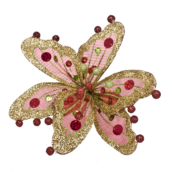 Red, Gold & Green Sheer Flower Clip - 20cm