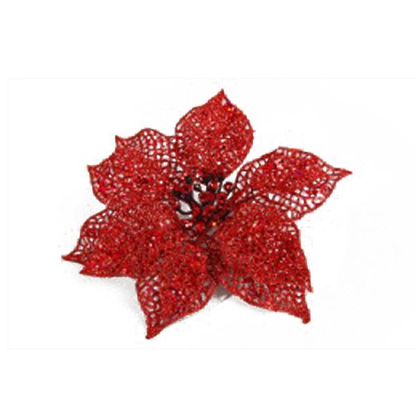 Red Poinsettia Flower On Clip - 17cm