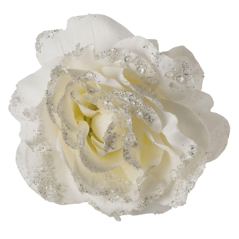 Cream Silk Sparkle Rose Clip - 14cm