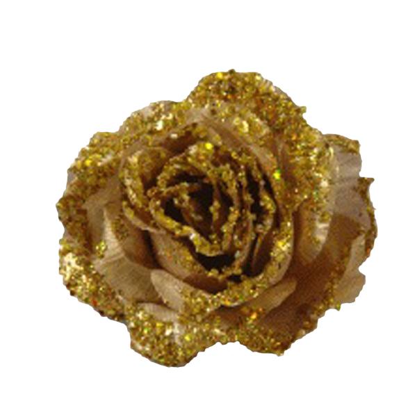 Gold Silk Sparkle Rose Clip - 14cm
