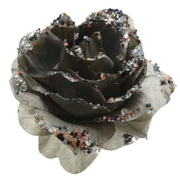 Grey Silk Sparkle Rose Clip - 14cm