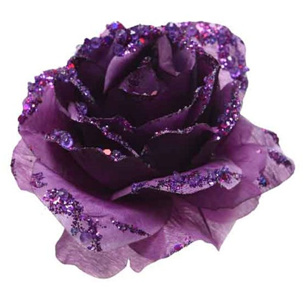 Royal Purple Silk Sparkle Rose Clip - 14cm