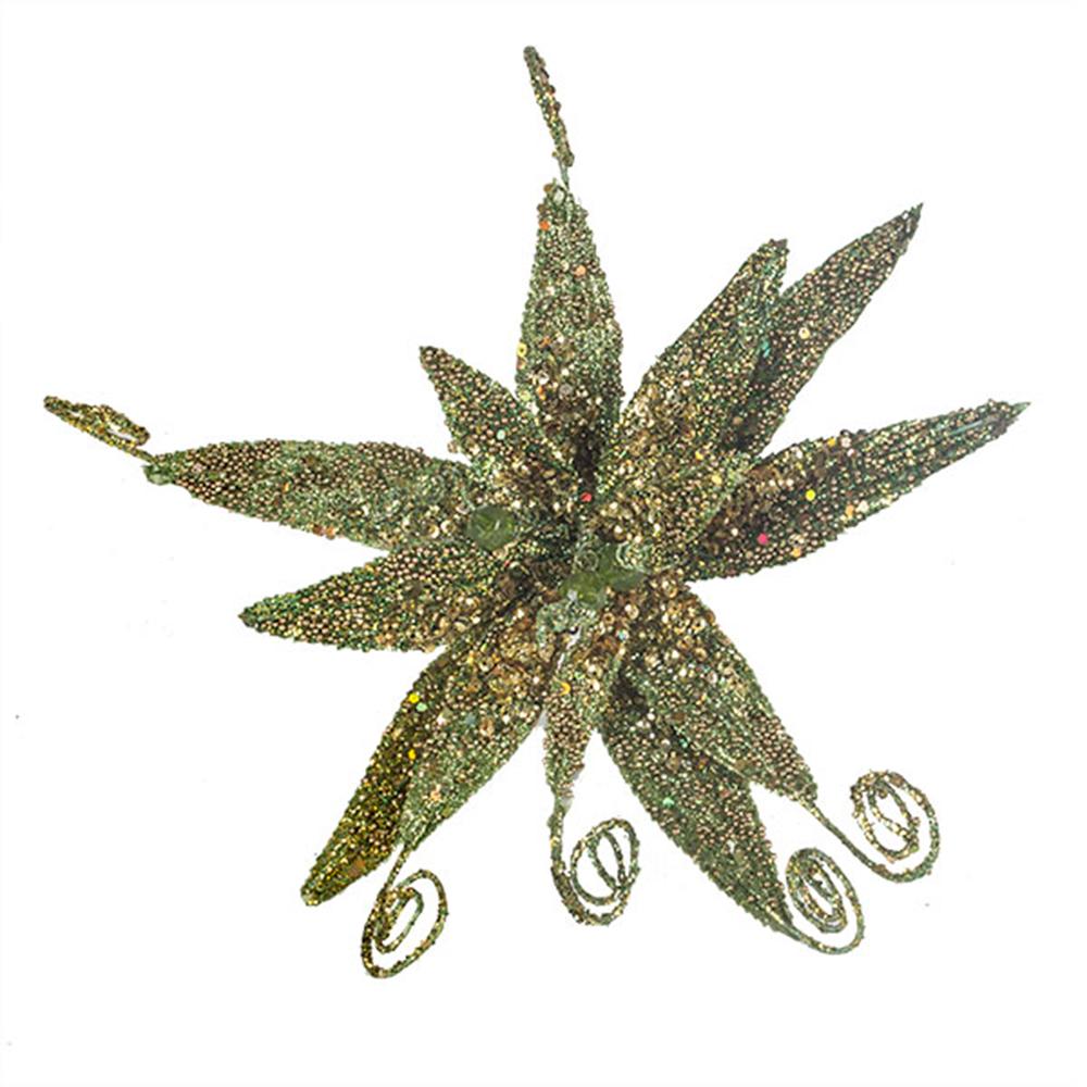 Olive Green & Gold Glitter Fern Flower On Clip - 17cm