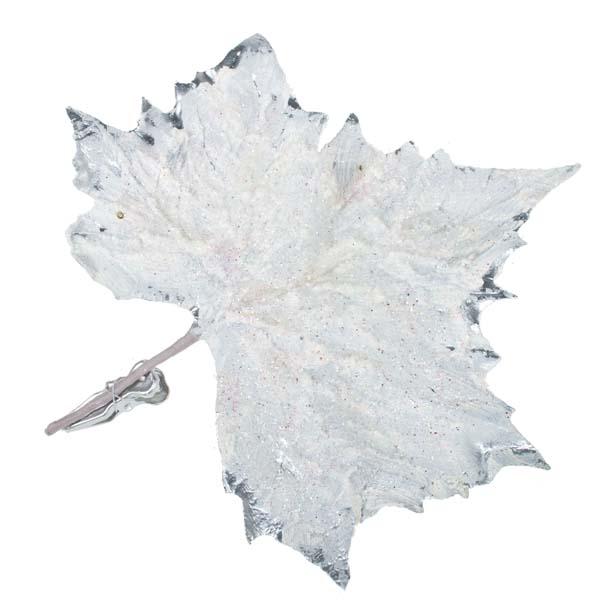 Snowy Maple Leaf On Clip - 25cm