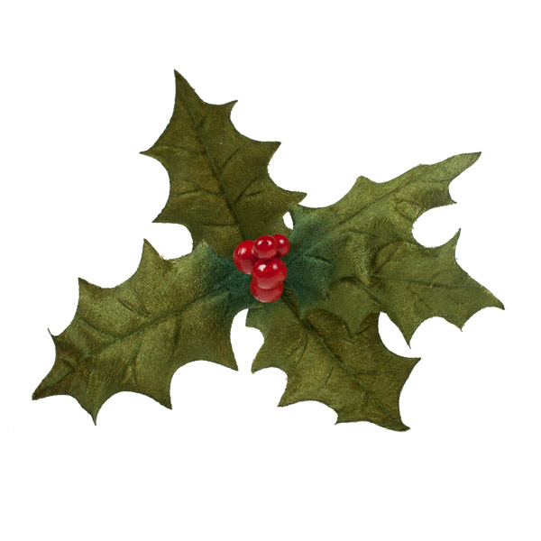 Dark Green Two Tone Velvet Holly On Clip - 23cm