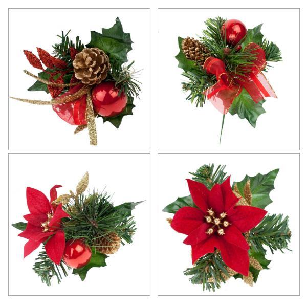 Red Poinsettia, Bauble And Pinecone Pick Range - 18cm