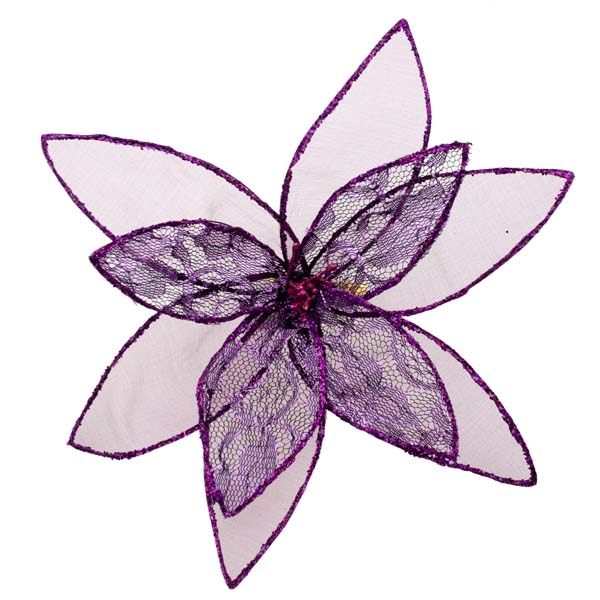Purple Decorative Organza Fabric Flower With Lace Detailing - 25cm