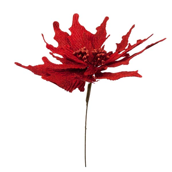 Red Poinsettia Pick - 35cm