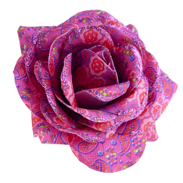 Decorated Pink Paisley Flower Clip - 12cm