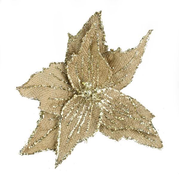 Gold Poinsettia on Clip - 20cm