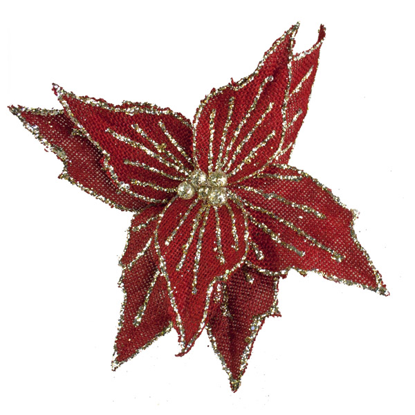 Red Poinsettia on Clip - 20cm