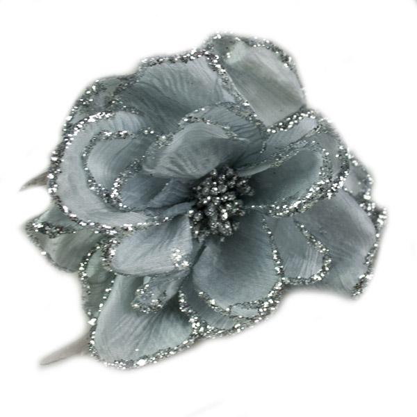 Silver Decorative Flower - 15cm