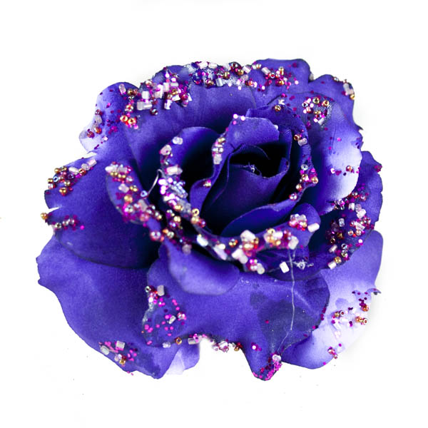 Purple Fabric Rose With Glitter On Clip - 10cm