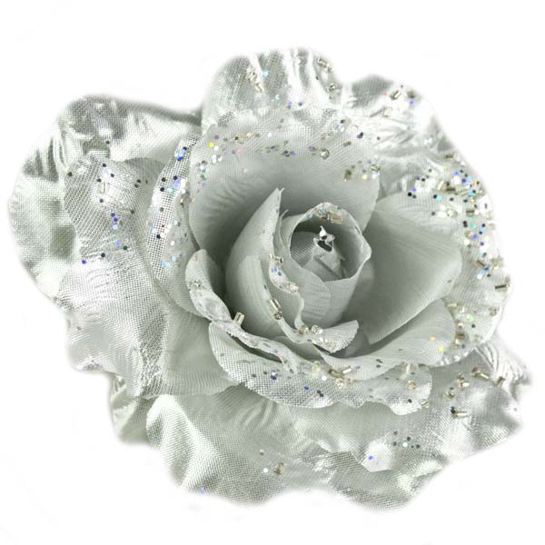 Silver Fabric Rose With Glitter On Clip - 10cm