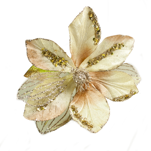 Gold Glitter & Beaded 70cm Magnolia Flower Spray