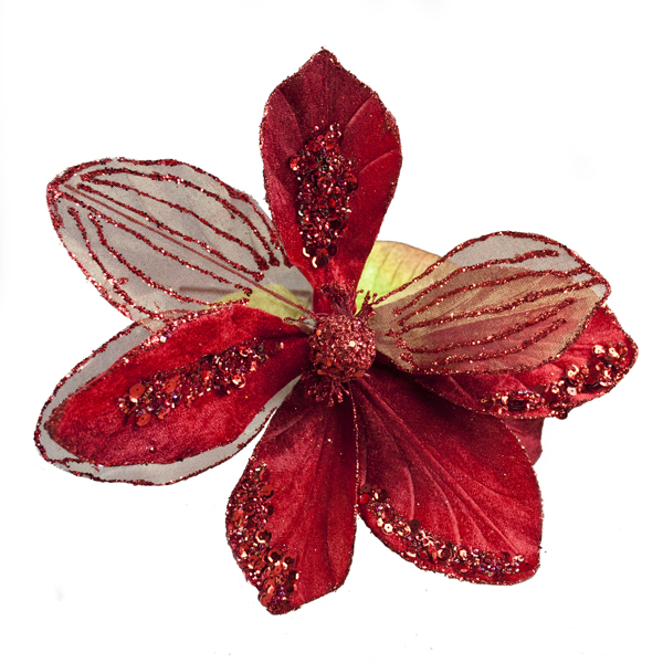 Red Glitter & Beaded 70cm Magnolia Flower Spray