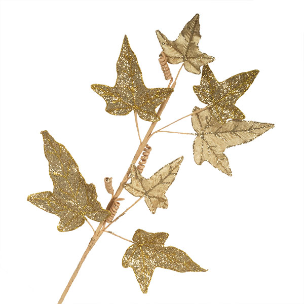 Gold Glitter Finish Ivy Spray - 68cm
