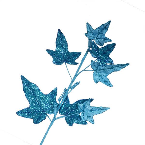 Turquoise Glitter Finish Ivy Spray - 68cm