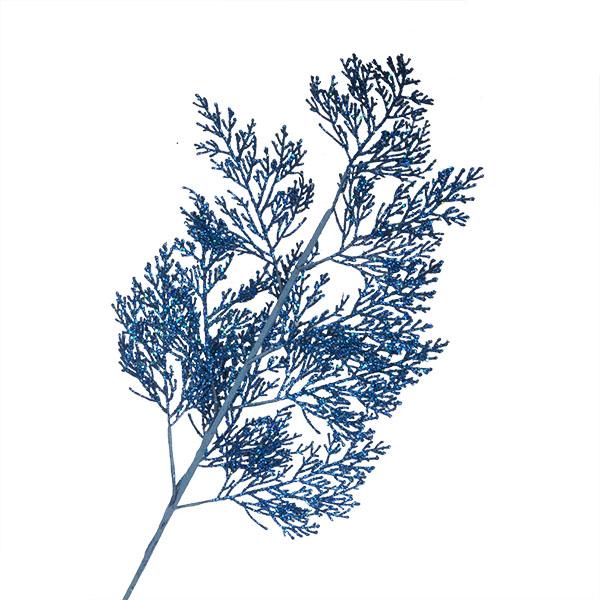 Blue Glitter Fern Spray - 70cm