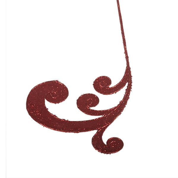 Red Glitter Finish Regal Swirl Pick - 53cm