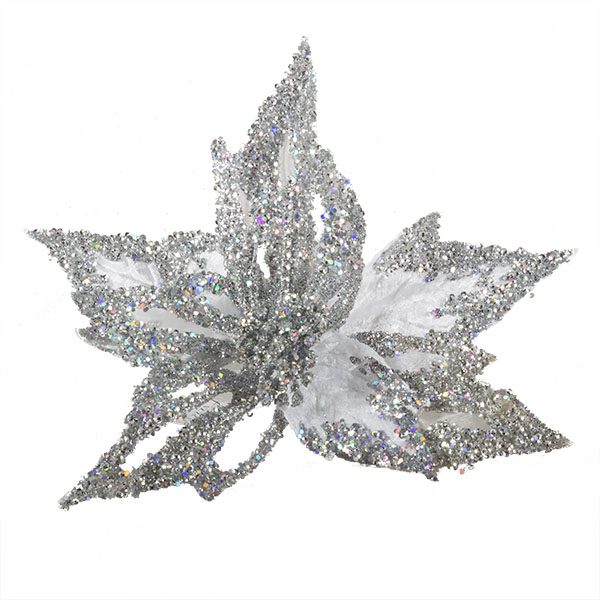 White & Silver Glitter And Beaded Decorative Display Poinsettia On Clip - 40cm