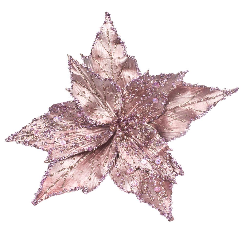 Pink Metallic Finish Two Tone Poinsettia On Clip - 28cm