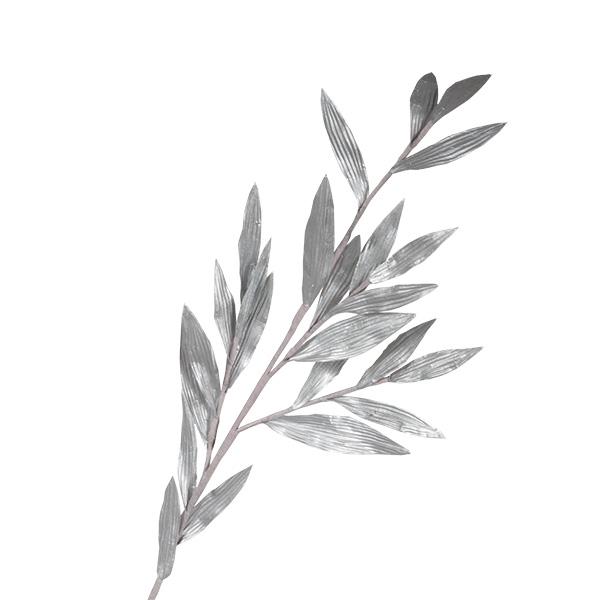 Silver Metallic Finish Leaf Spray - 81cm