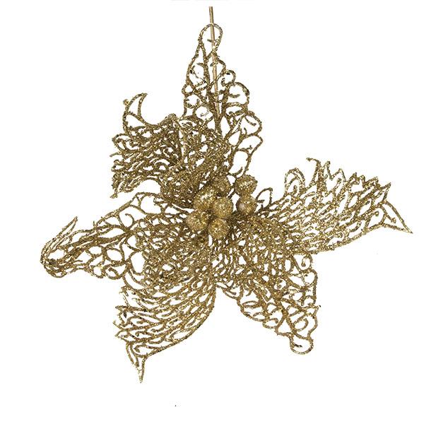 Gold Filigree Poinsettia Pick - 25cm