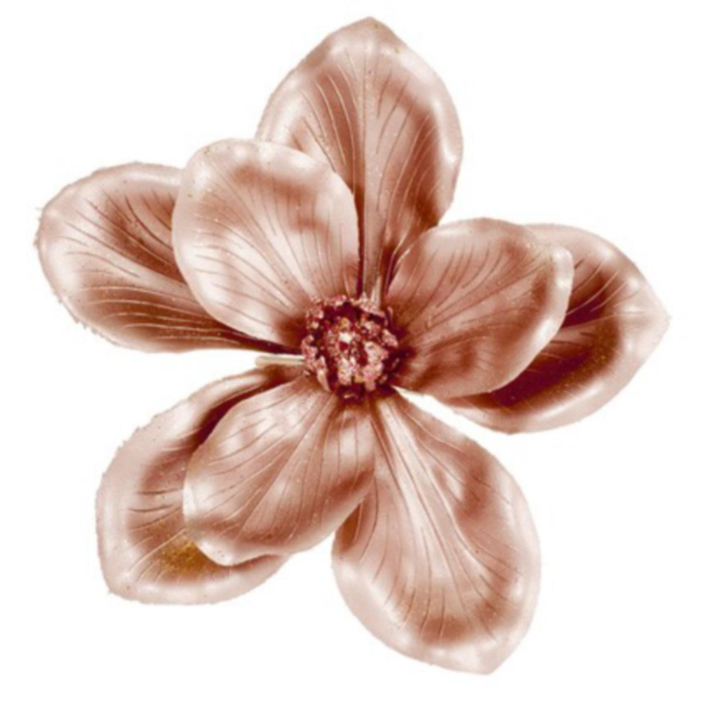 Metallic Finish Rose Gold Magnolia Flower On Clip - 18cm