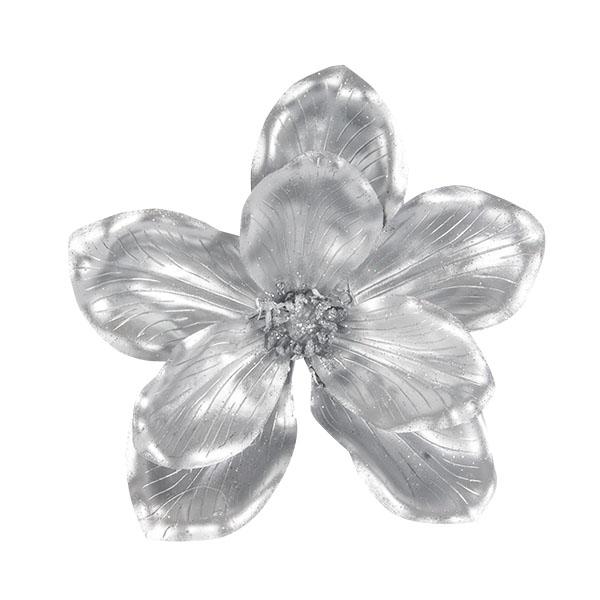Metallic Finish Silver Magnolia Flower On Clip - 18cm