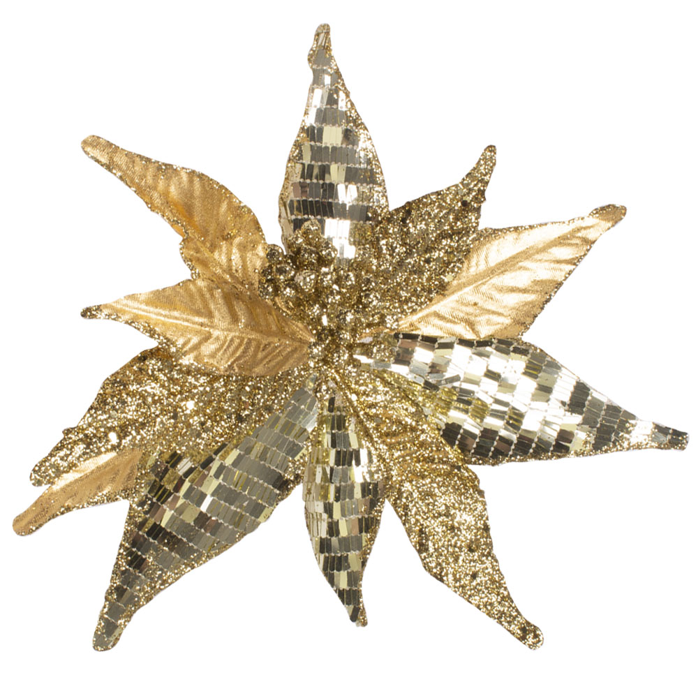 Gold Poinsettia Pick With Glitter - 22cm