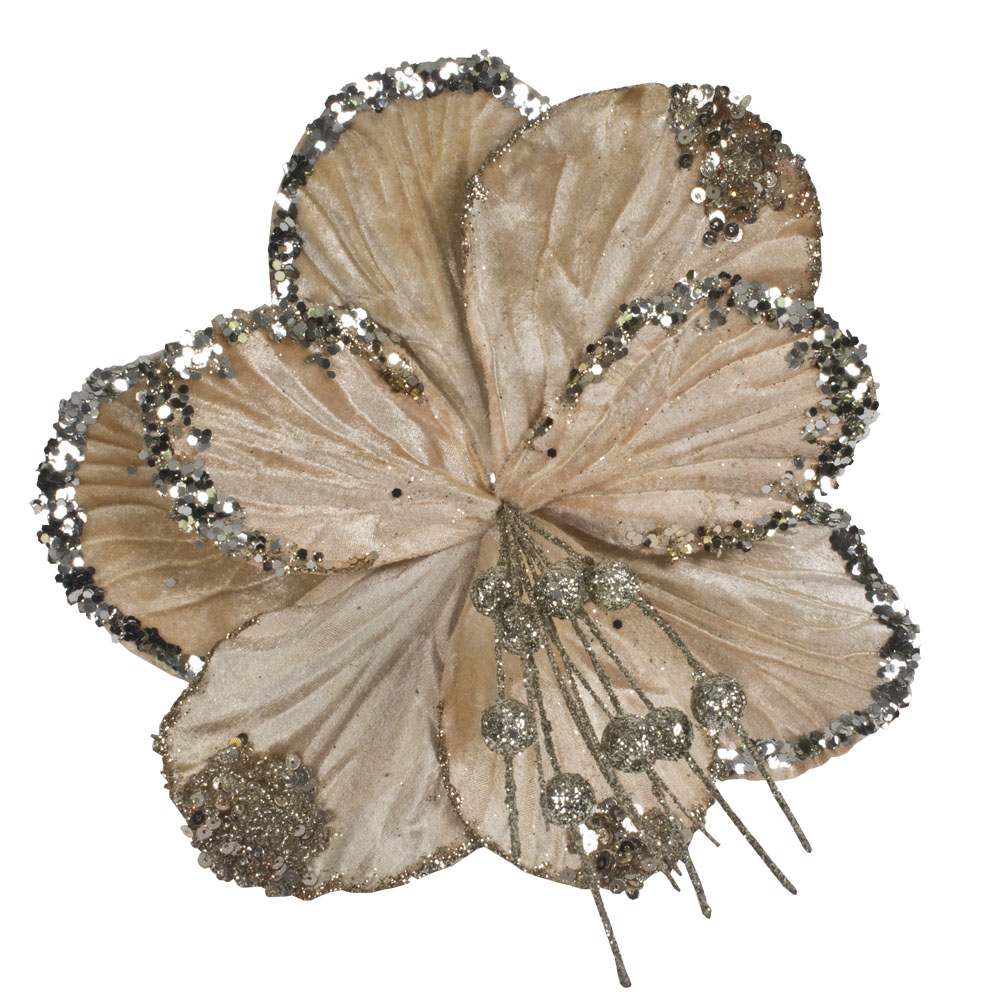 Decorative Champagne Gold Hibiscus Flower On Clip - 20cm