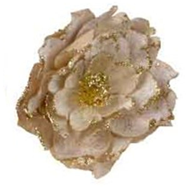Decorative Gold Fabric Flower With Beads On Clip - 16cm X 8cm