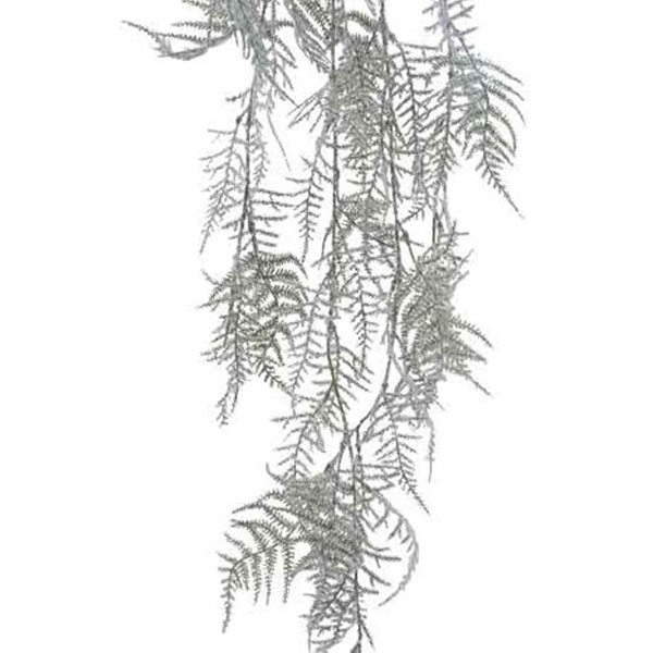Frosted Green Glitter Snowy Fern Spray - 105cm