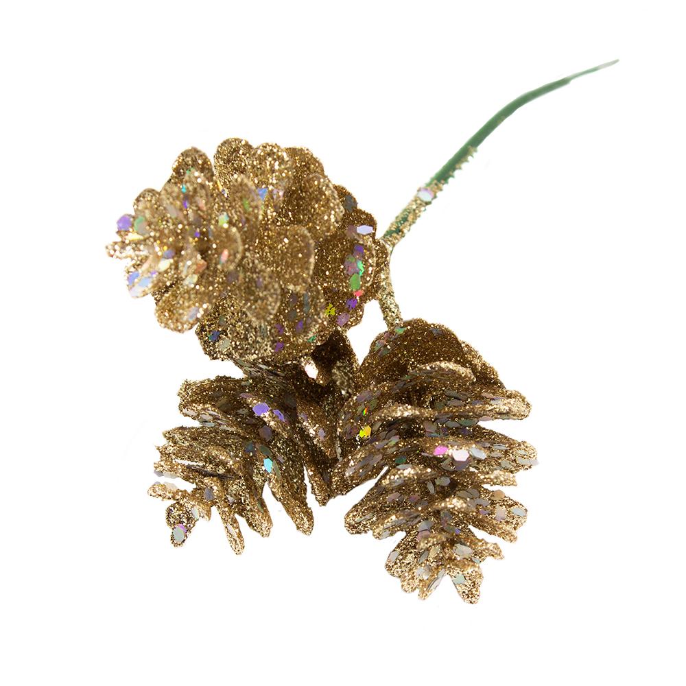 Gold Glitter Pinecone Pick - 19cm