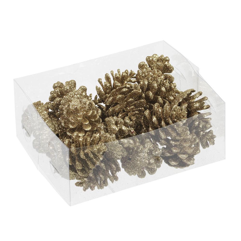 Gold Glitter Pine Cones - 24 X 4.5cm