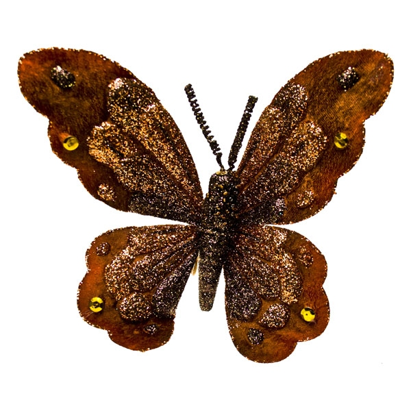 Brown and Copper Butterfly On Clip - 18cm