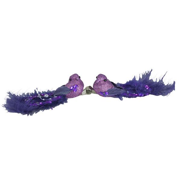 Fig Purple Glitter Bird On Clip - 2 x 15cm