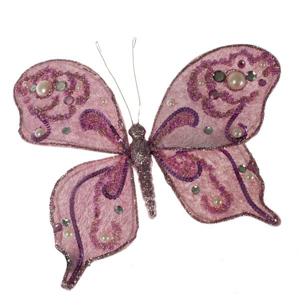 Pale Heather Purple Glittered Butterfly Clip - 20cm x 15cm