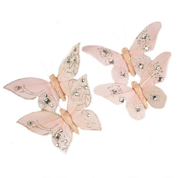 Blush Pink Feather Butterflies - 4 x 10cm