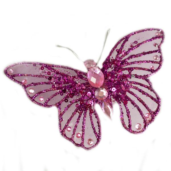 Magenta Pink Organza Diamante Butterfly Clip - 13cm x 9cm