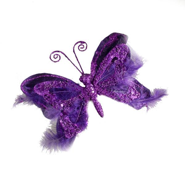 Fig Purple Sequin Sparkle Velvet Butterfly On Clip - 19cm x 18cm
