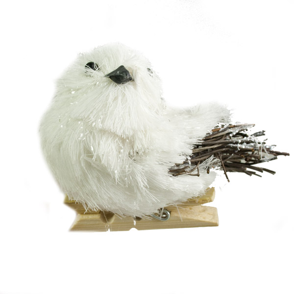 Gisela Graham White Bristle Bird On Peg - 7cm