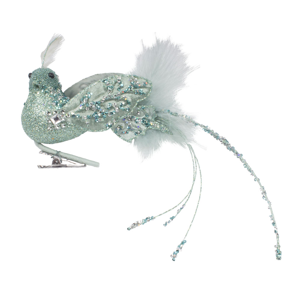 Pale Blue Glitter And Beaded Bird On Clip - 28cm