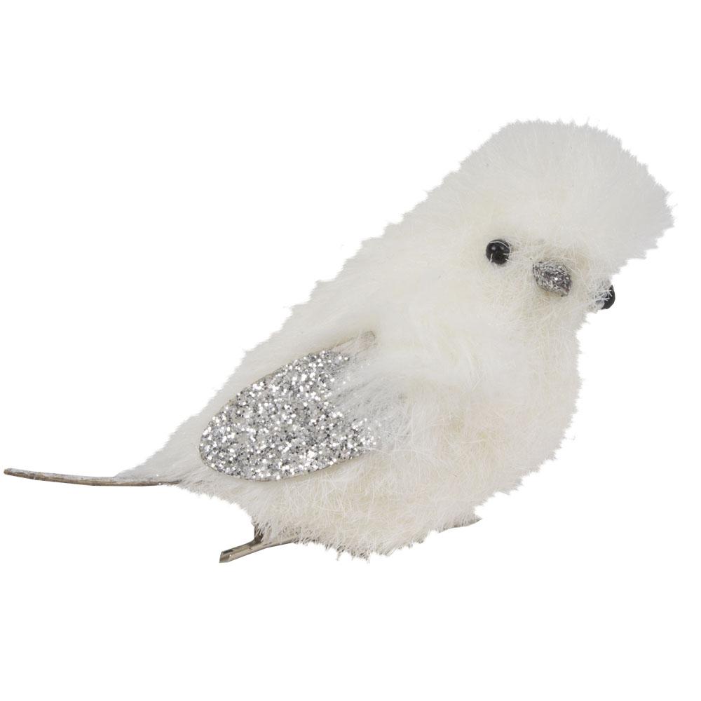 White Fluffy Bird On Clip Facing Right - 10cm